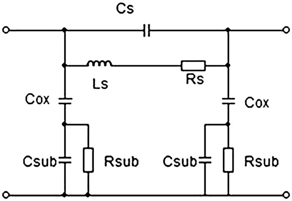 Electrical equivalent circuit of the inductor. Typical 'pi
