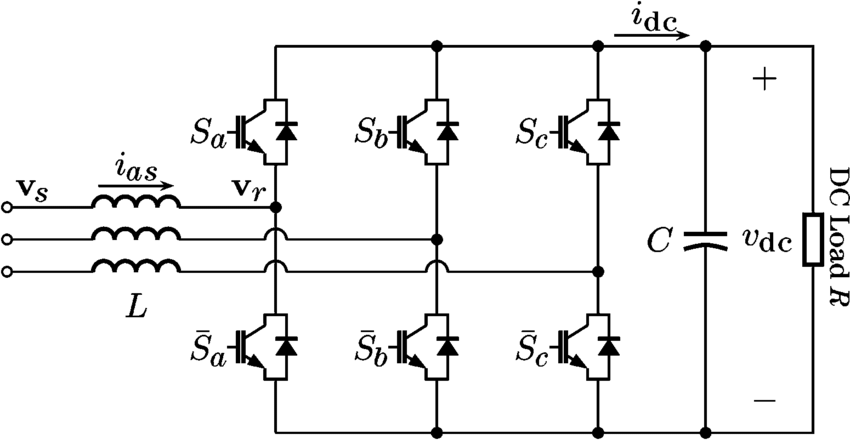 Circuit diagram of a three-phase boost-type rectifier