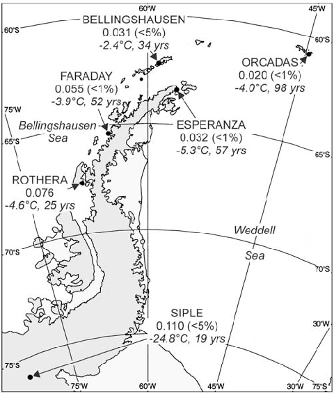 A map of the Antarctic Peninsula region showing
