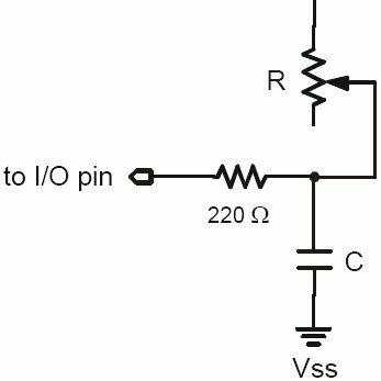 Resistor-capacitor circuit used. Diagram from the BASIC