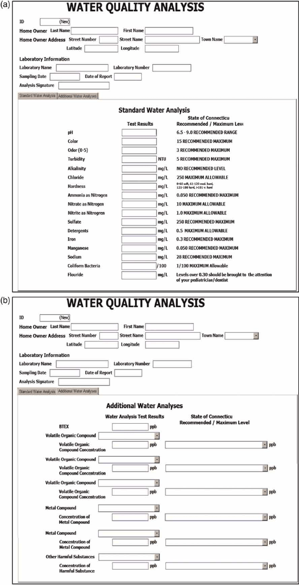   (a) The water quality report form created in Microsoft