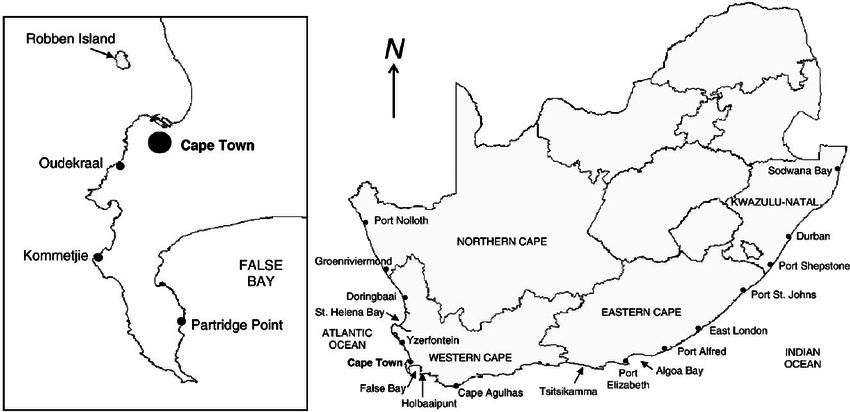 Map of South Africa showing the coastal provinces and
