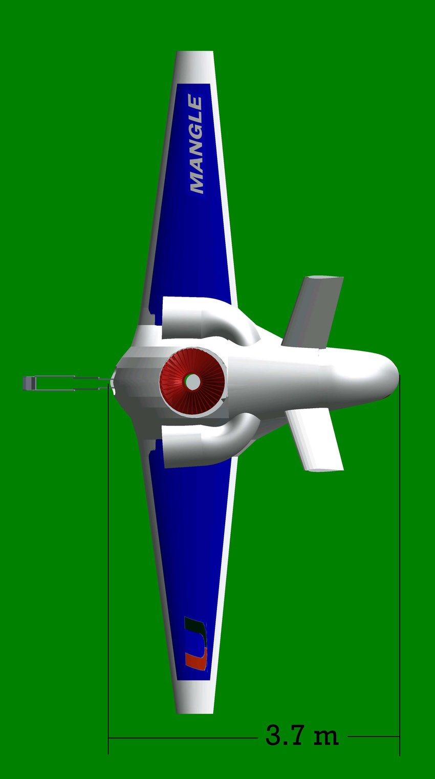 hight resolution of mangle top view for takeoff landing with mechanical arm extending out and vectored nozzle bent