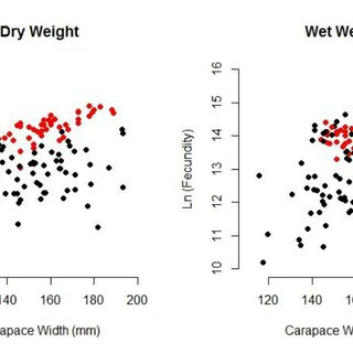 Carapace width and mean egg size of six eggs measured from