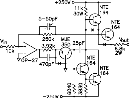 Schematic diagram of the high voltage amplifier circuit