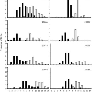 Selection surfaces for offspring birth date and body mass
