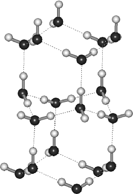 Fragment of the ice XI structure. Two cavities each of