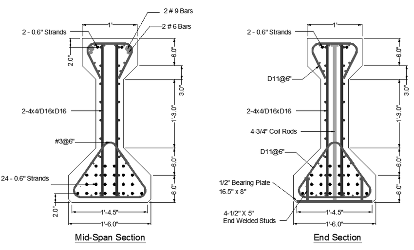 Cross sections and reinforcement details of the AASHTO