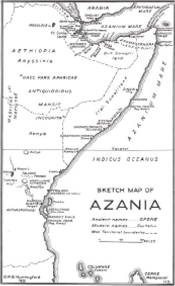 Map of Azania, indicating ancient and modern sites (source