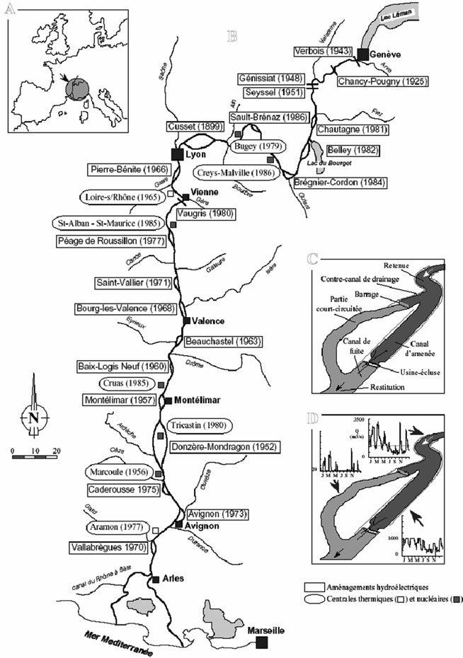 Localisation des aménagements hydroélectriques et des