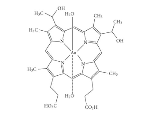 Chemical structure of the tested gold complex [Au(II)Hp−2H