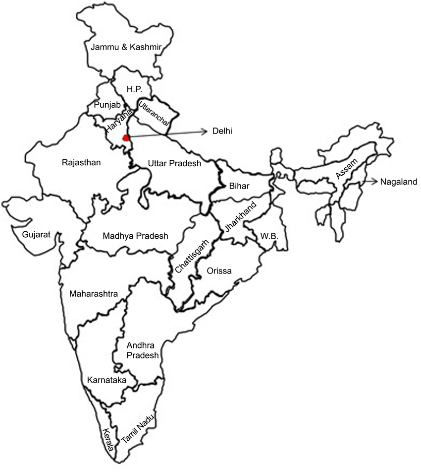 Political Map of India Showing Study Location (State of