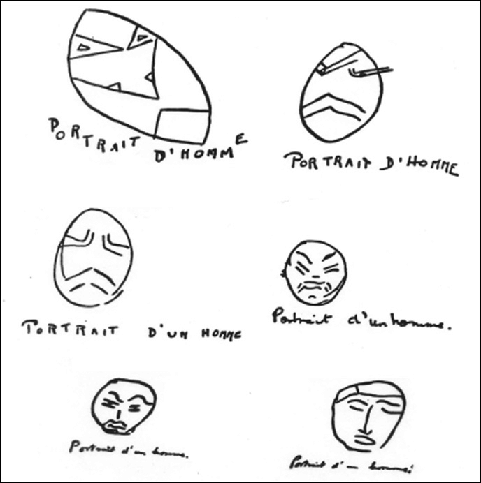 Examples of serial reproductions of a drawing from memory
