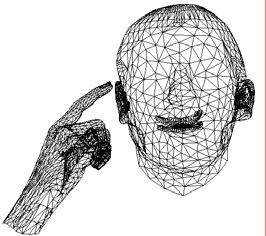The Cued Speech capable talking head. Left: wire frame
