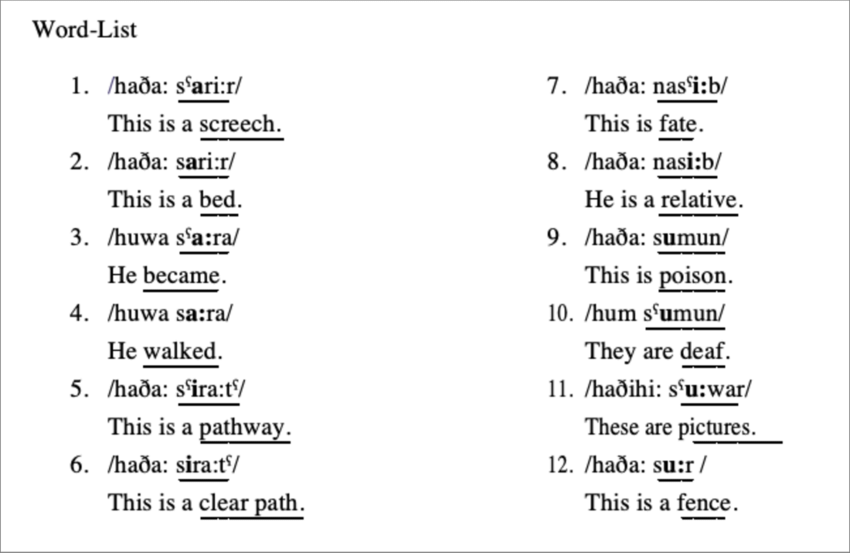Shown here is the word list of minimal and near-minimal