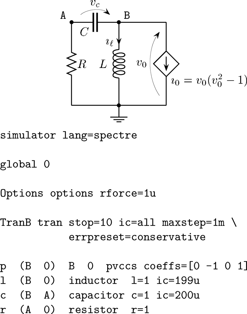 hight resolution of schematic of the van der pol oscillator and the related netlist for the download scientific diagram