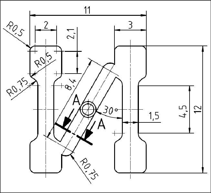 Project design and dimensions (mm) of the specimen