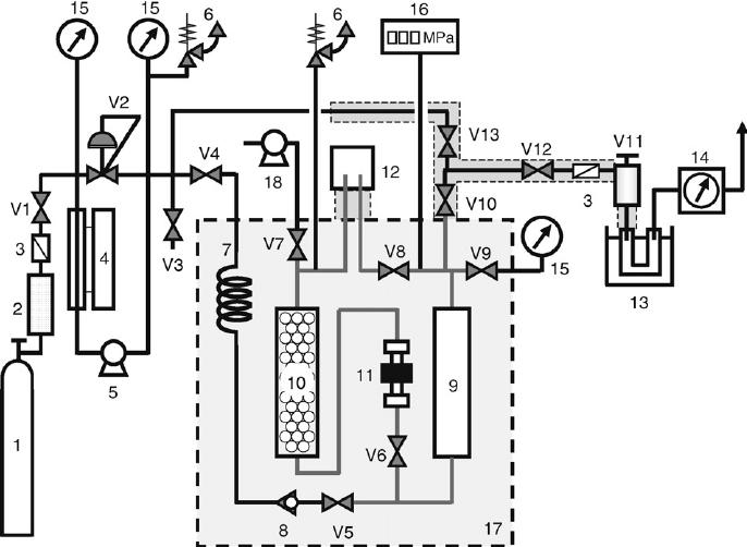 Schematic diagram of adsorption apparatus: (1) gas