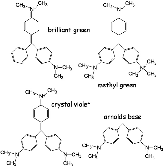 Chemical structure of the triarylmethine dyes: crystal