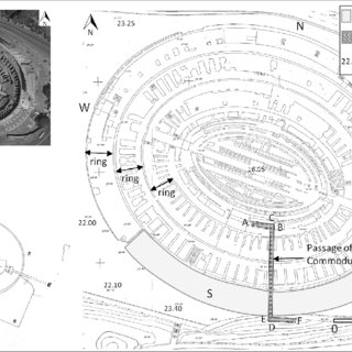 Sketch of the cross-section of the Colosseum along the