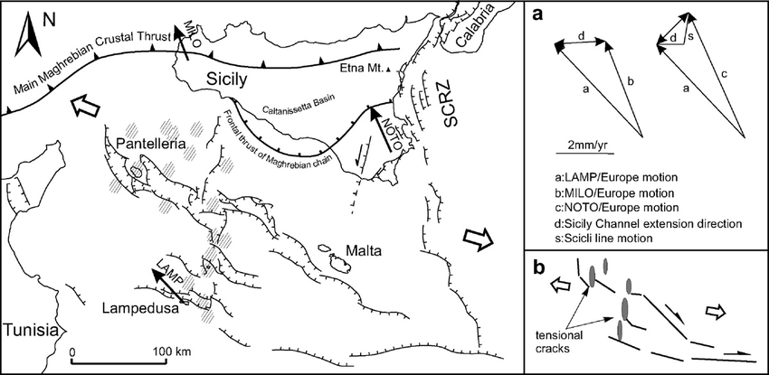 Structural sketch map showing the Late Quaternary