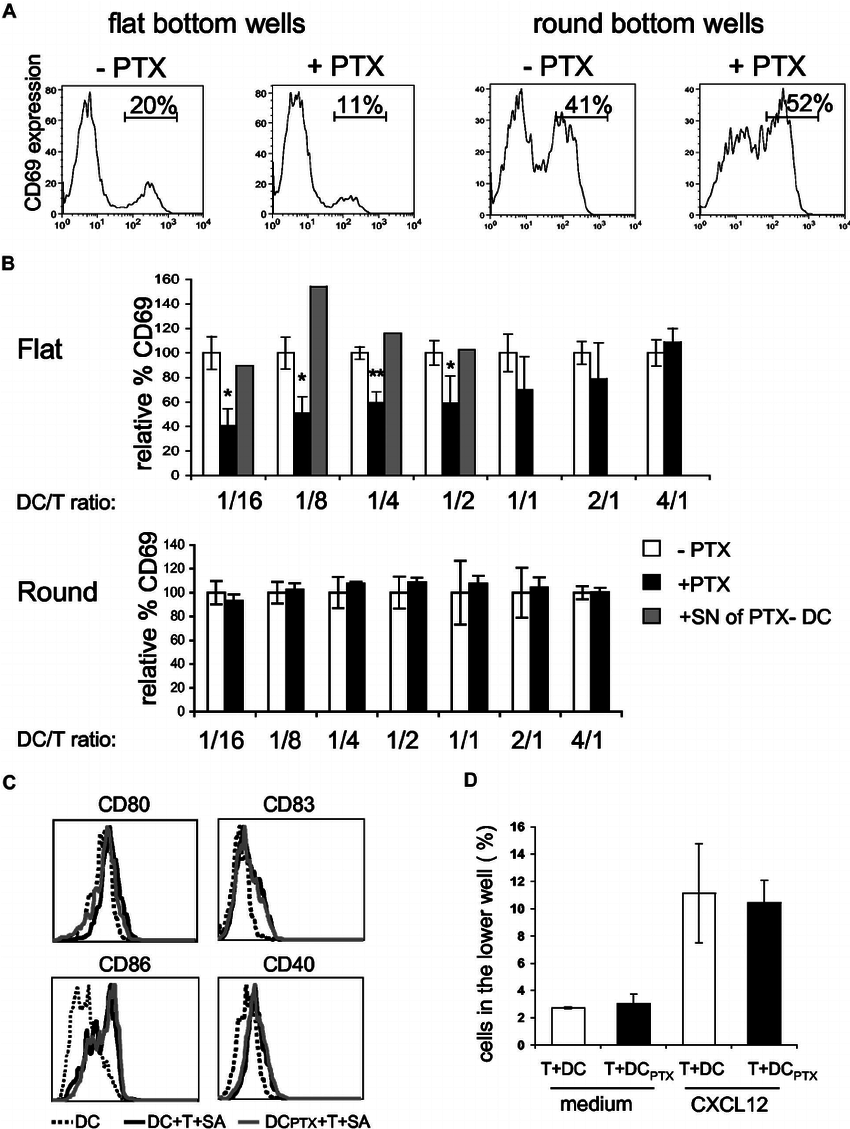 medium resolution of pertussis toxin treated dcs are impaired in the ability to activate cd4 t cells a b cd4 t cells 4 10 4 were incubated with dcs pulsed with 100