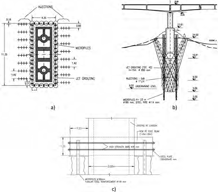 Zevio Bridge, a) Horizontal and b) vertical section of the