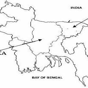 Map of Sylhet district indicating the locations of