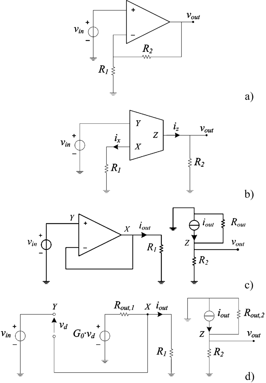 hight resolution of  a opamp noninverting voltage amplifier b ccii noninverting voltage amplifier