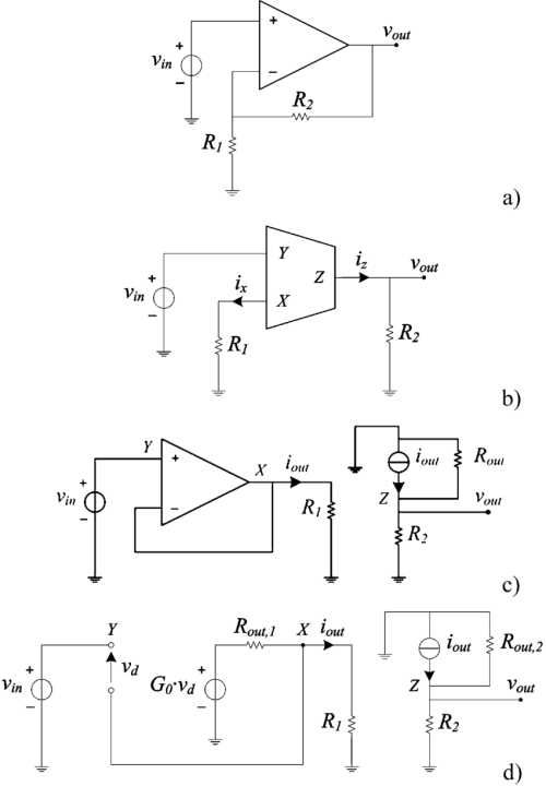 small resolution of  a opamp noninverting voltage amplifier b ccii noninverting voltage amplifier