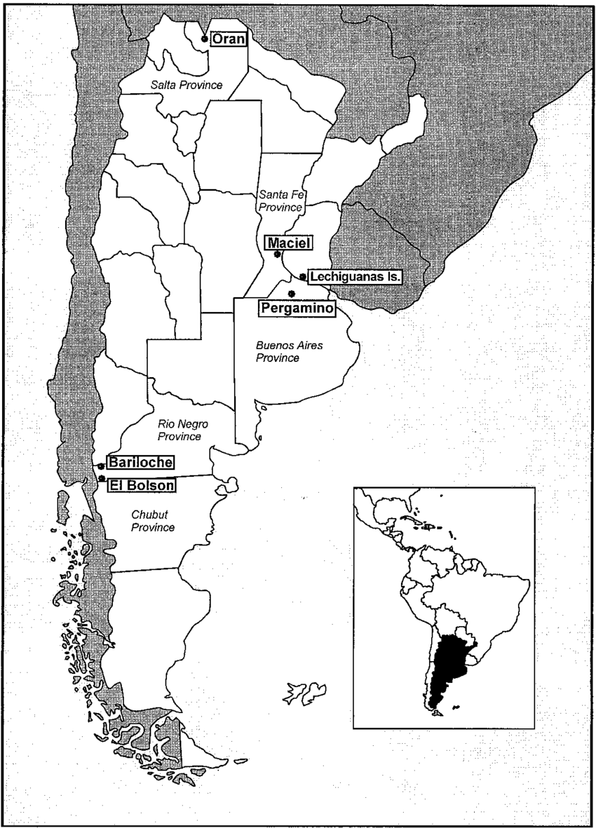 Map of Argentina showing provinces and major locations where ...