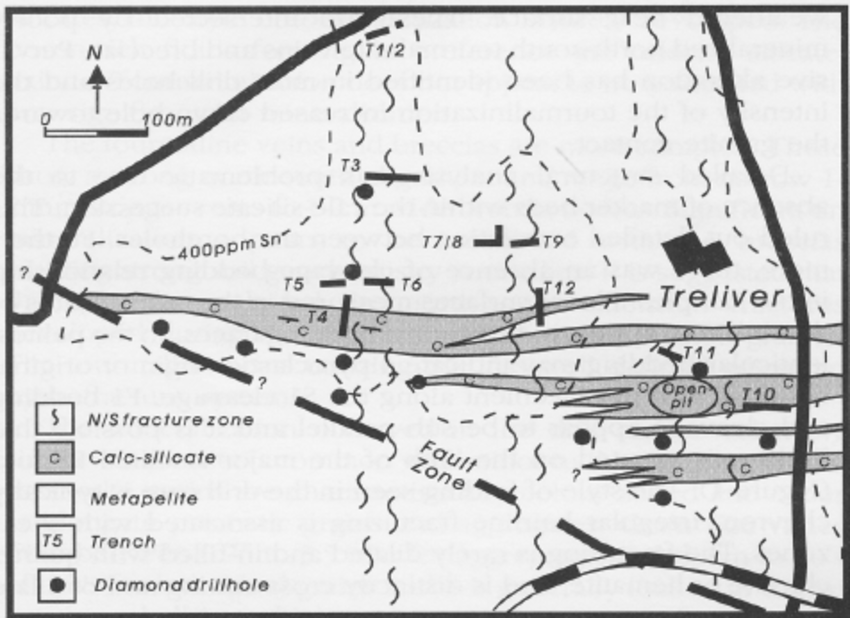 Simplified geology and location of drill holes, trenches