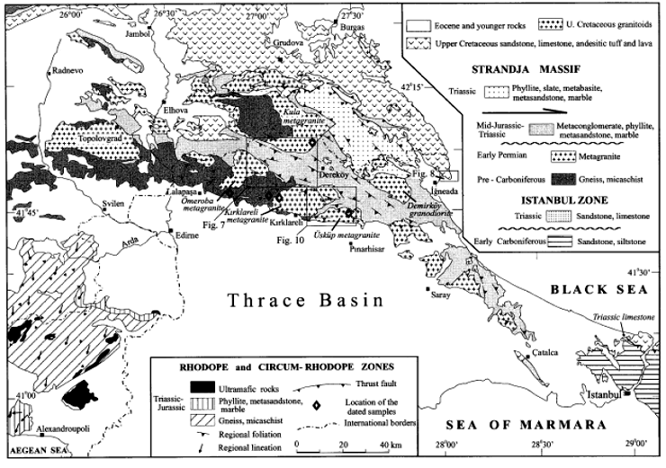 Geological map of Istranca massive and its neighborhoods