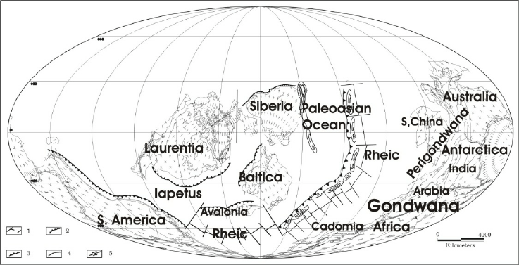 Plate tectonic map of Late Ordovician (plates position as