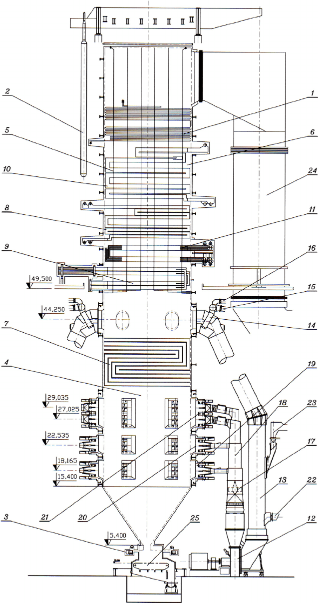 Disposition of the steam boiler TPP ꞌ Kostolac B ꞌ 1