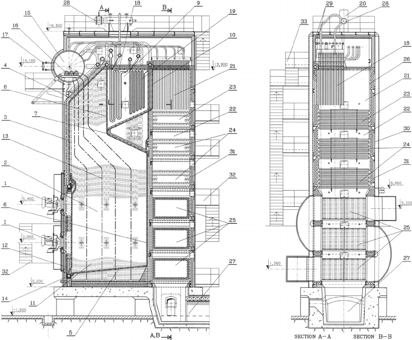 Disposition of steam boiler. 1. Combined burner; 2