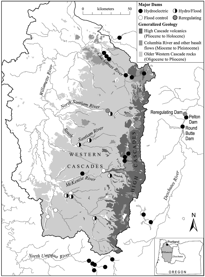 hight resolution of distribution of large hydroelectric flood control and hydro flood dams in the willamette