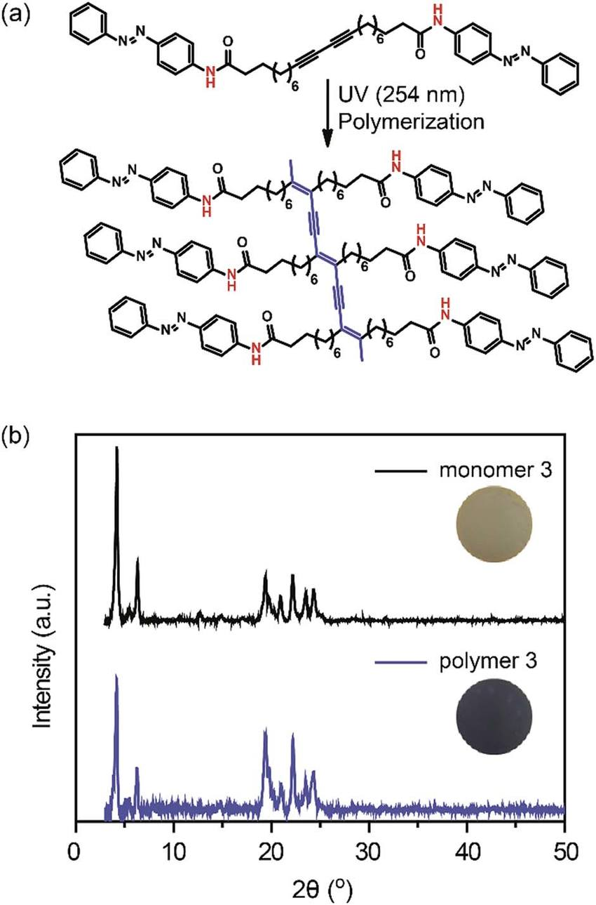hight resolution of  a a schematic photopolymerization of monomer 3 and the structure of polymer 3 with