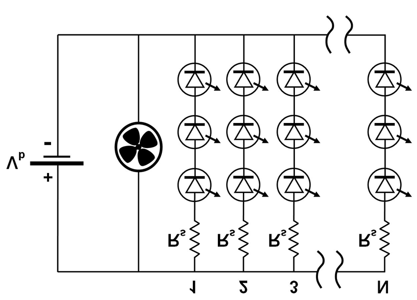 Circuit diagram of the prototype LED array. The array has