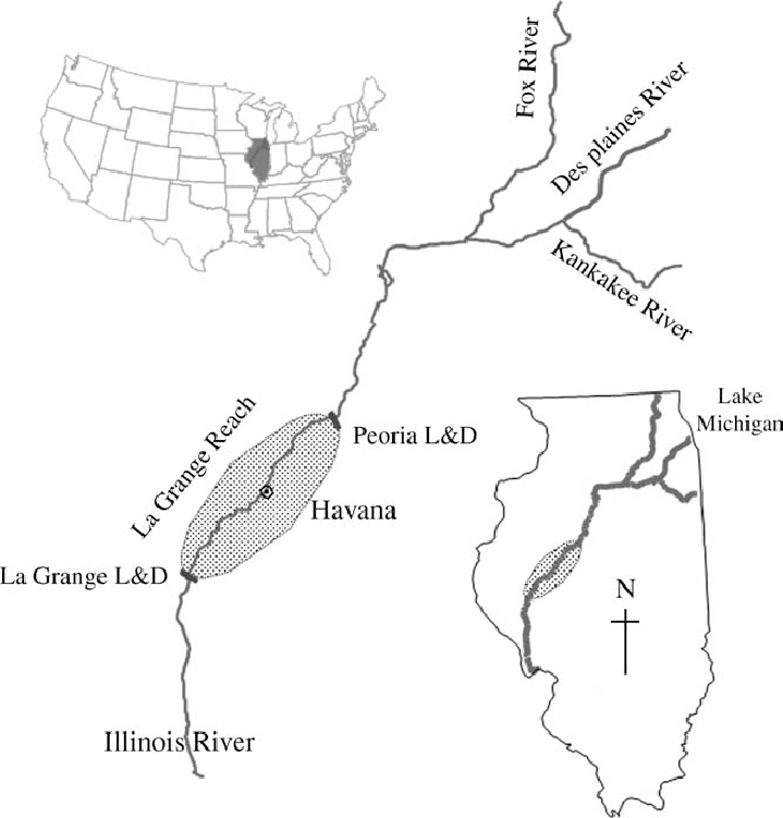Map of Illinois River, Illinois, U.S.A. The 129 km long La