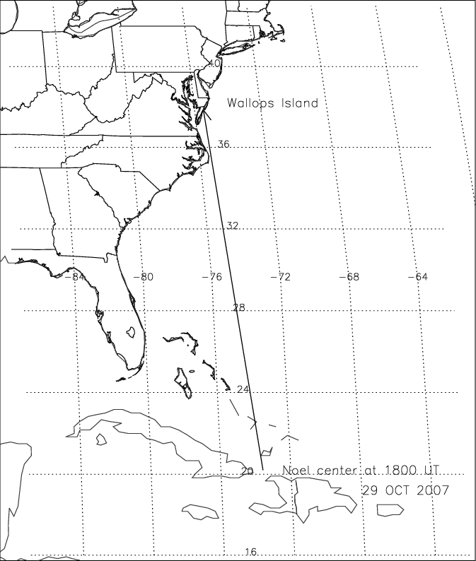 Map showing the location of tropical storm Noel on 29