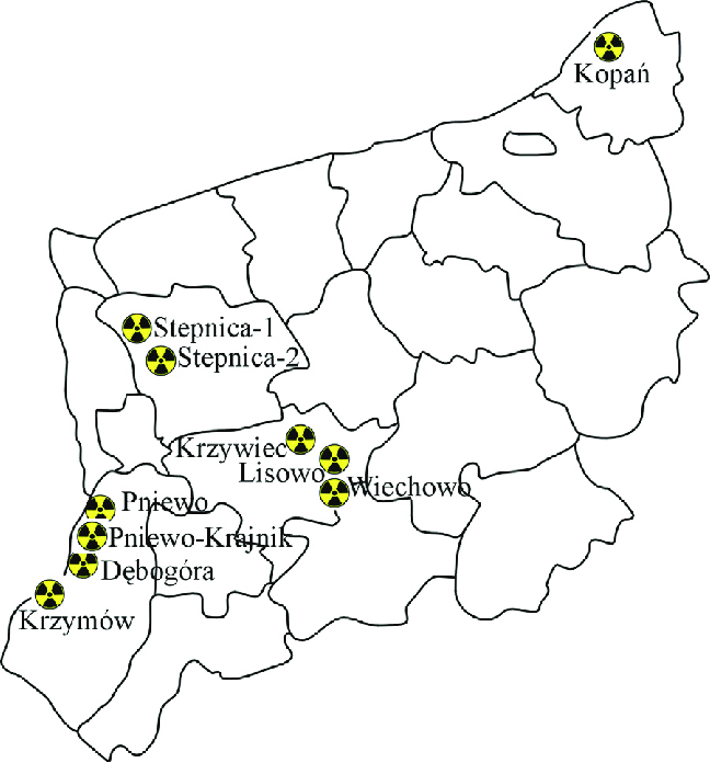 Proposed sites for the construction of a nuclear power