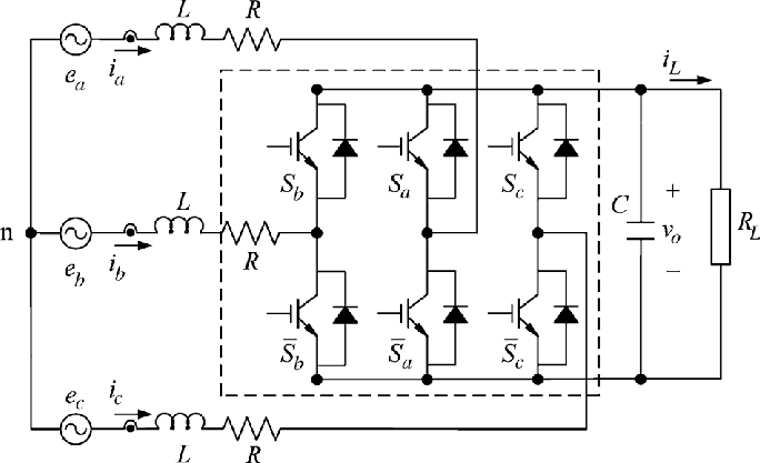 Power circuit of the three-phase PWM ac/dc boost converter