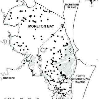 Map of Moreton Bay showing sighting locations of