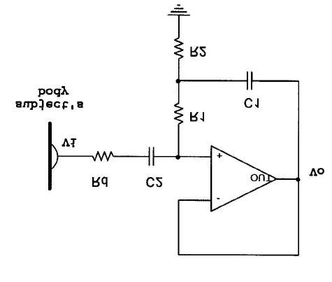 Schematic circuit model of a one-stage buffer op-amp