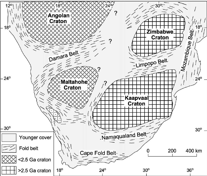 Simplified geological map showing the main crustal