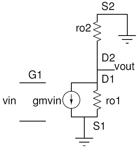 Small signal circuit of CS amplifier with active load