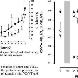 Behavior of alveolar dead space ( VD al v ) and shunt