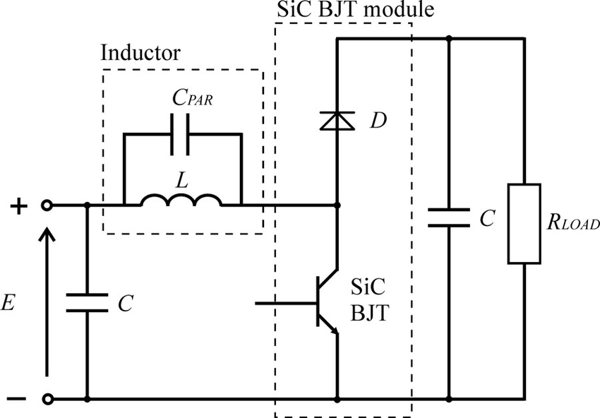 Schematic diagram of the dc–dc boost converter with SiC
