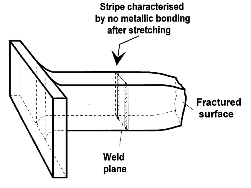 Tensile test specimen that fractured outside the seam weld